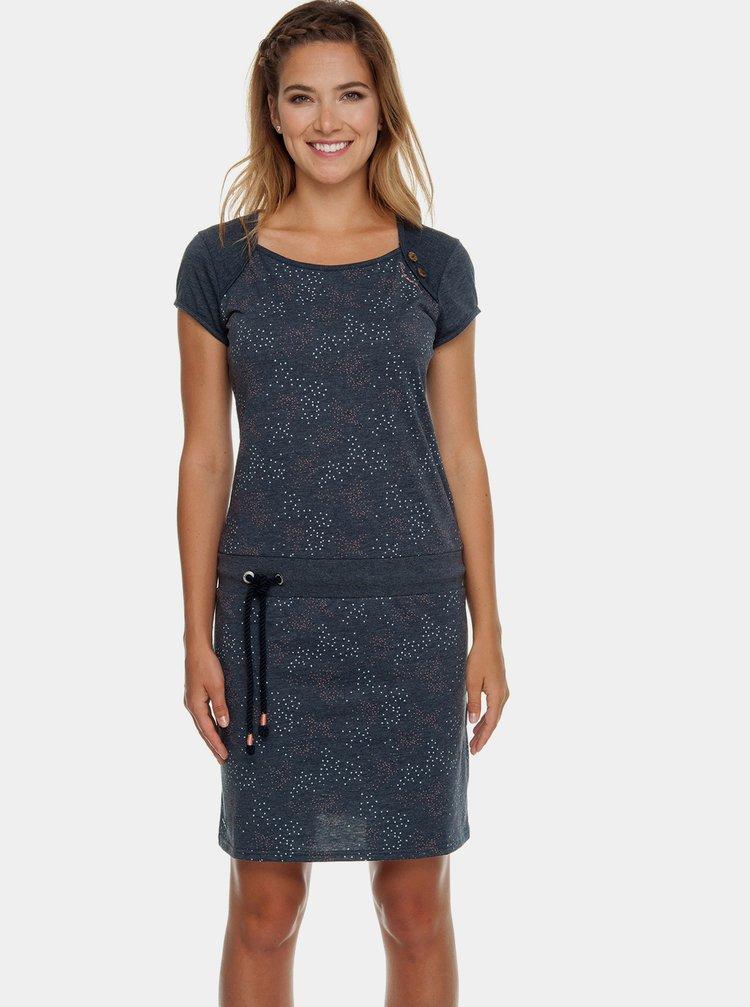 Tmavomodré vzorované šaty so zaväzovaním Ragwear Mike