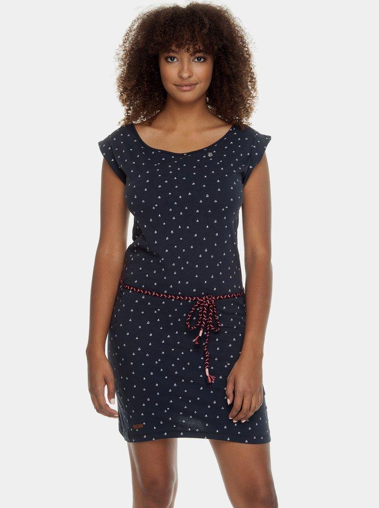 Tmavě modré vzorované šaty s páskem Ragwear Tamy