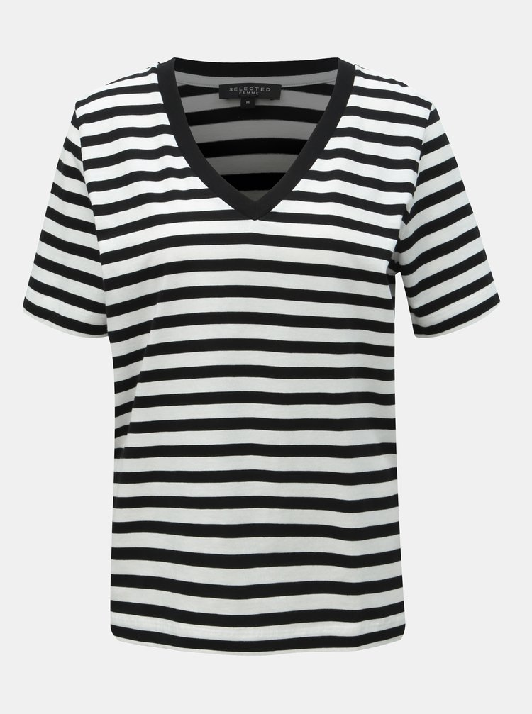 Bielo–čierne pruhované basic tričko Selected Femme Standard