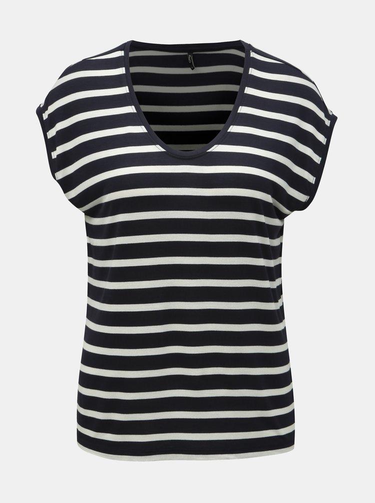 Tmavě modré pruhované basic tričko ONLY Wilma