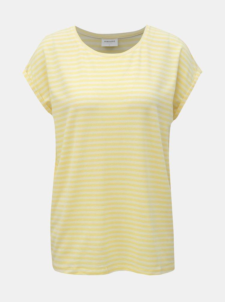Žluté pruhované basic tričko AWARE by VERO MODA Ava