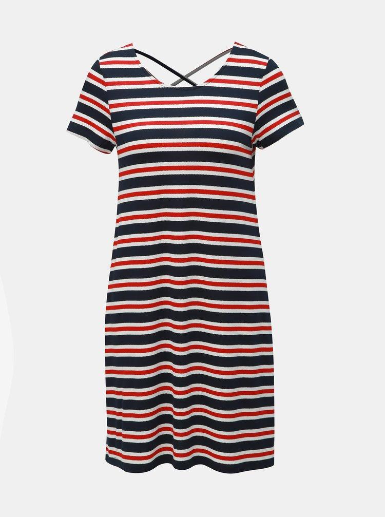 Červeno–modré pruhované šaty s pásikmi na chrbte ONLY Bera