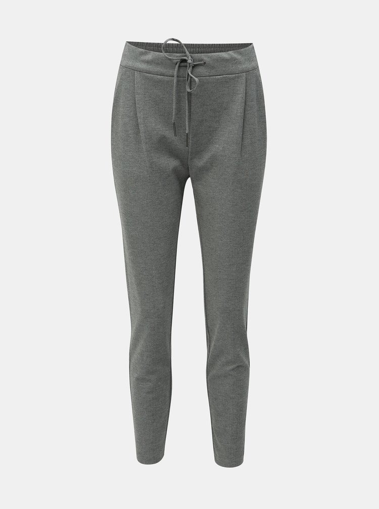 Sivé melírované skrátené nohavice s vysokým pásom VERO MODA Eva