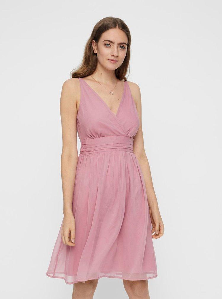 Ružové šaty s prekladaným výstrihom VERO MODA Josephine