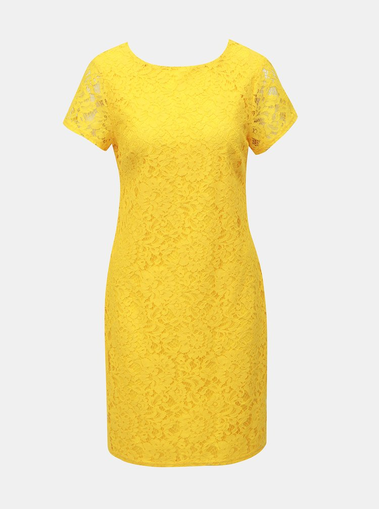 Žlté čipkované puzdrové šaty Dorothy Perkins