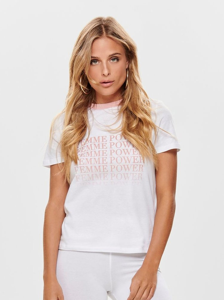 Tricou alb cu imprimeu ONLY Charlie