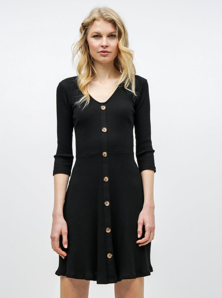 Černé žebrované šaty s ozdobnými knoflíky Dorothy Perkins