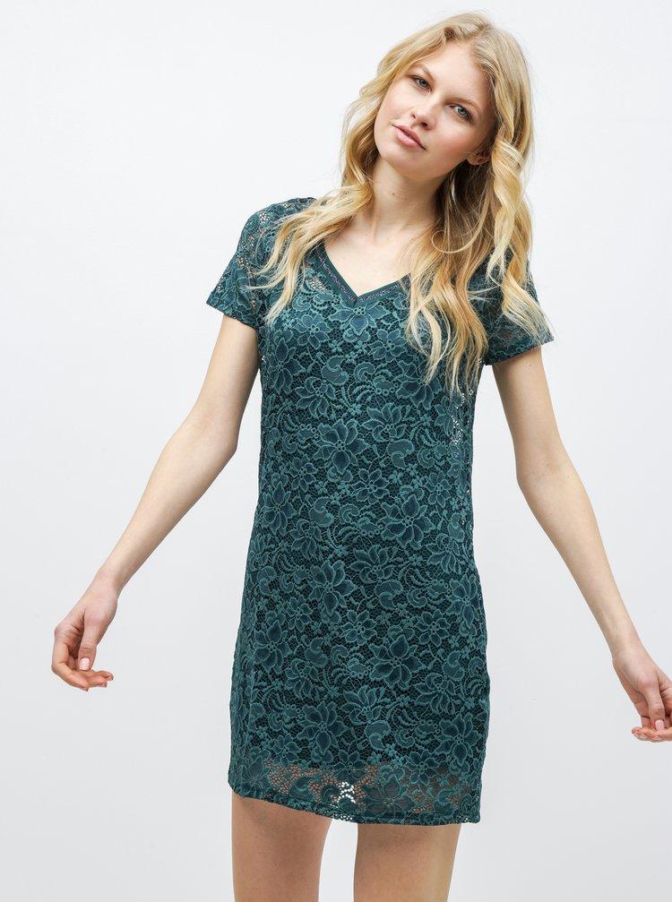 4ce5a0e54629 Tmavozelené čipkované šaty ONLY Amaze