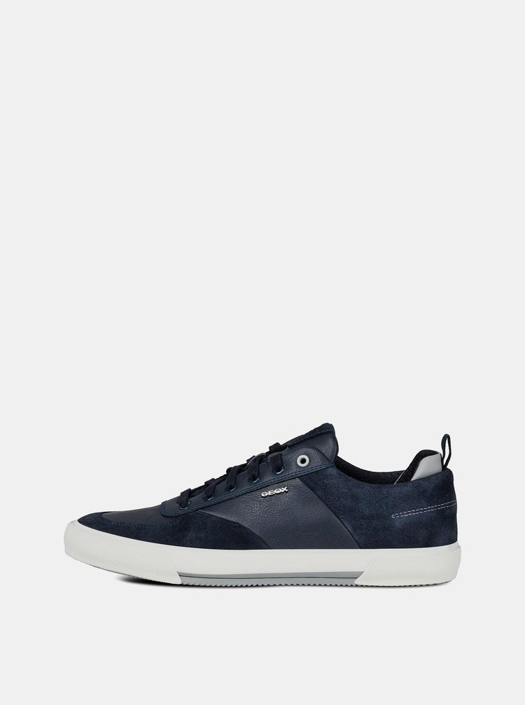 Pantofi sport barbatesti albastru inchis cu detalii din piele intoarsa Geox Kaven