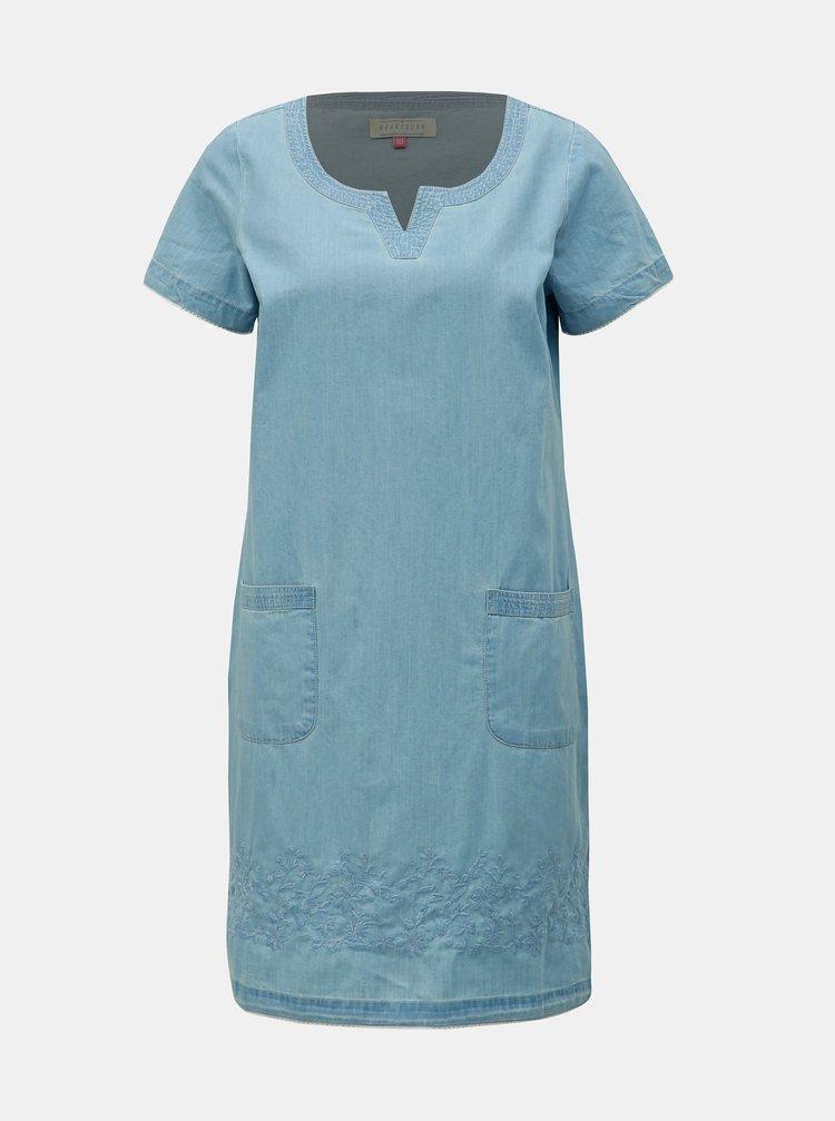 Svetlomodré šaty s výšivkou a ozdobnými lemami Brakeburn