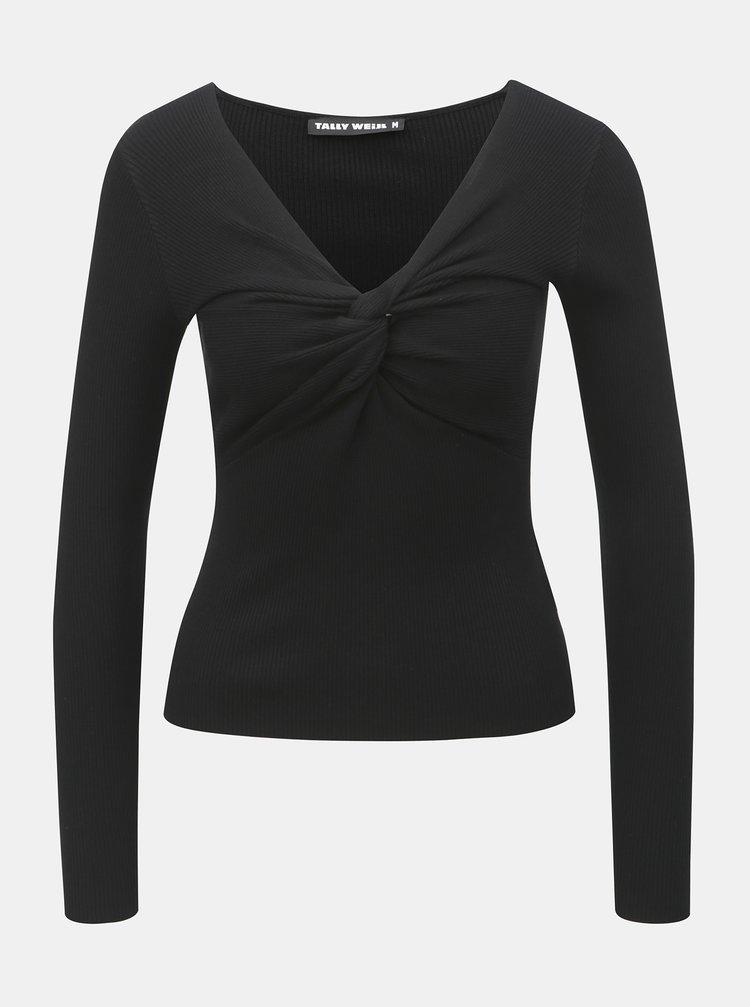 Černé žebrované tričko TALLY WEiJL