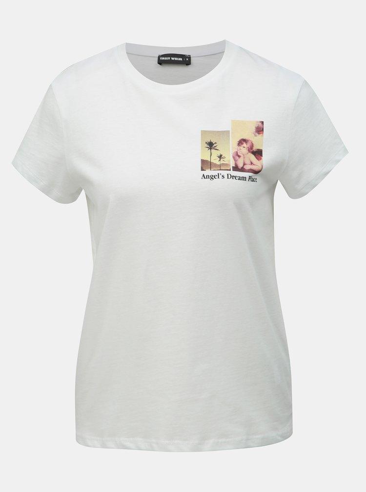 Tricou alb cu imprimeu TALLY WEiJL