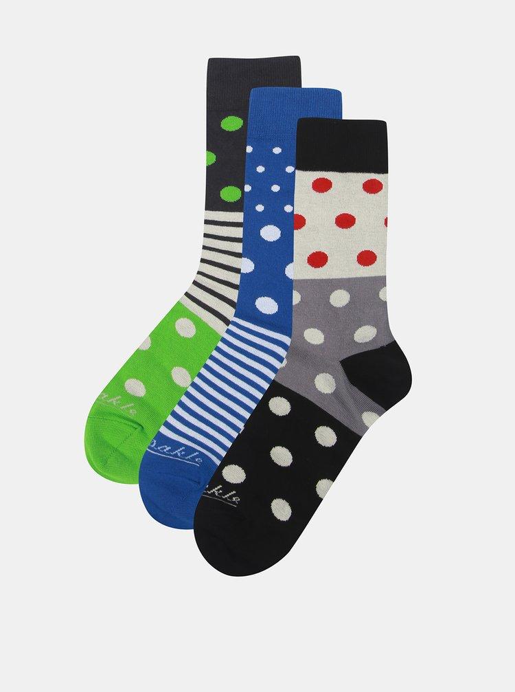 Sada troch párov unisex ponožiek v béžovej a zelenej farbe a v darčekovej krabičke Fusakle Guľkopásik