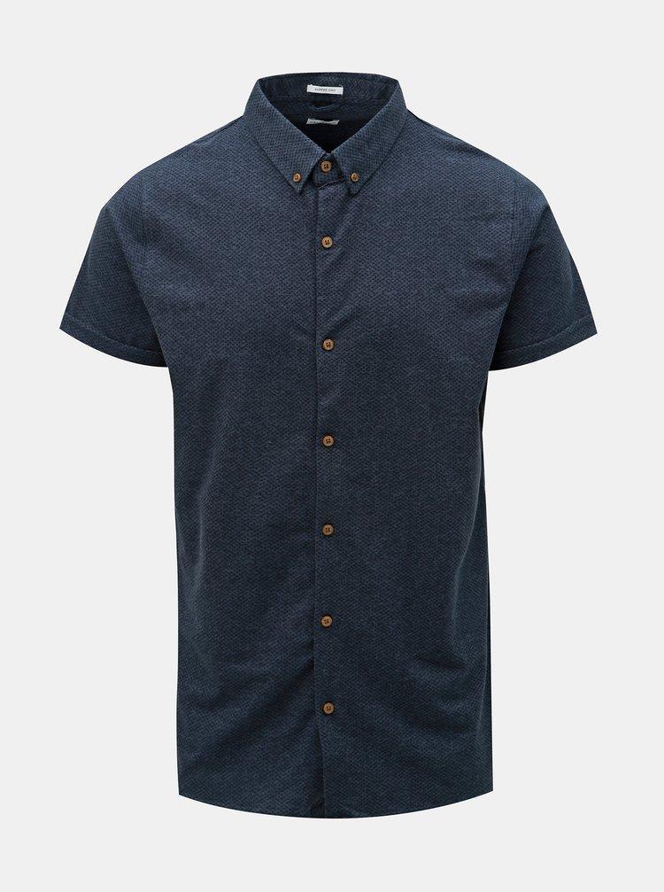 Tmavomodrá košeľa s drobným vzorom Dstrezzed