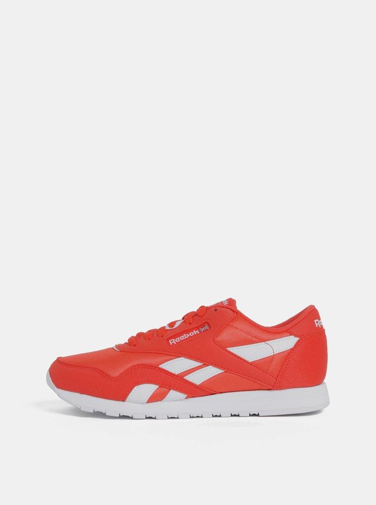 Pantofi sport rosii de dama cu aspect de piele intoarsa Reebok Classic Nylon Color