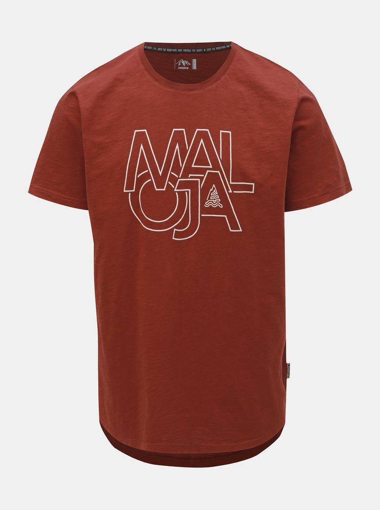 Hnedé pánske tričko s potlačou Maloja Archas