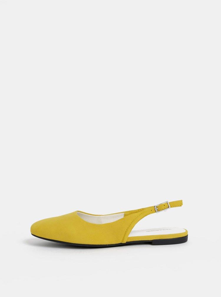 Žluté semišové baleríny s otevřenou patou Vagabond Ayden