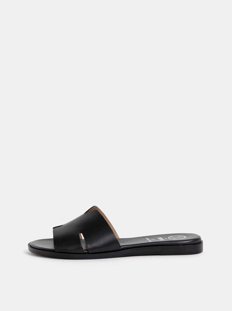 Černé kožené pantofle OJJU