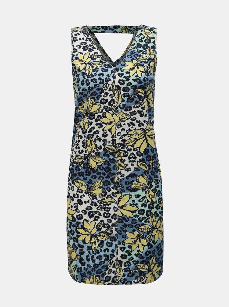 Žlto–modré ľanové kvetované šaty M&Co Petite