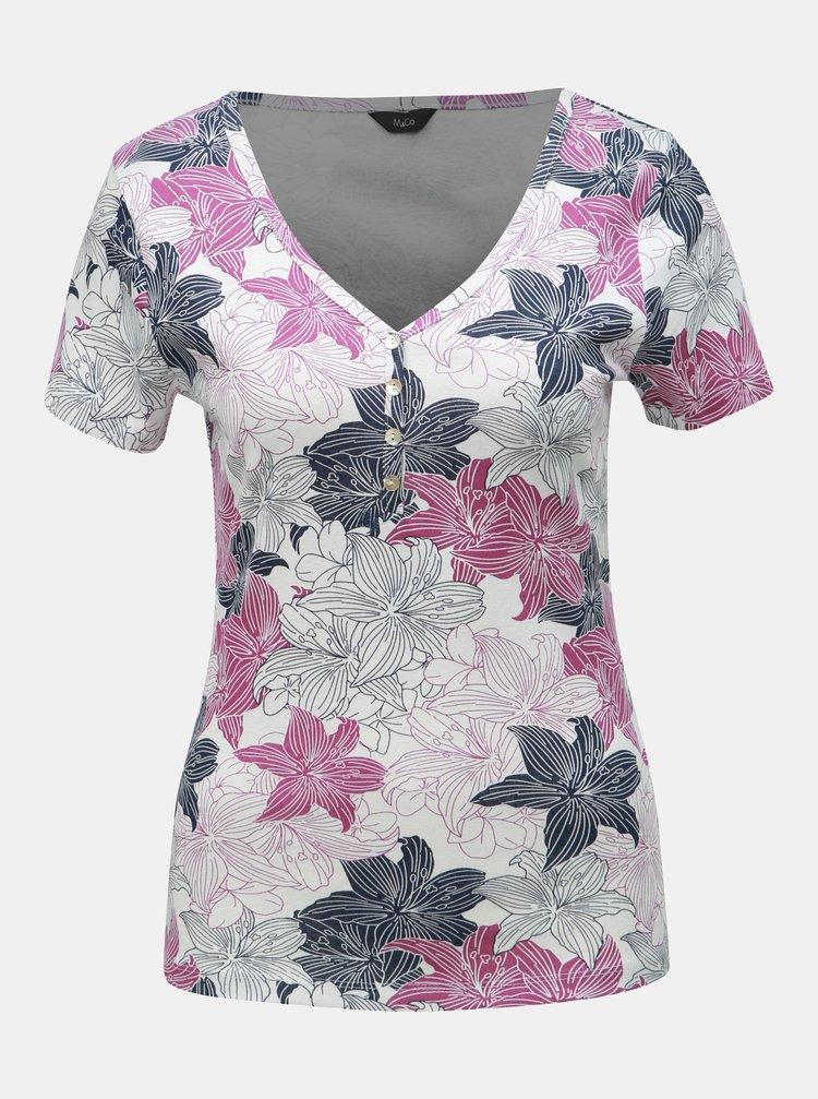 Růžovo-bílé  květované tričko M&Co