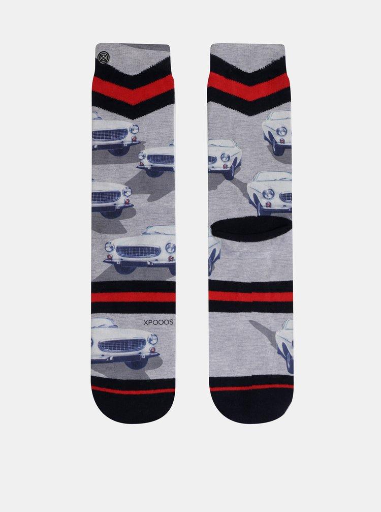 Sivé pánske vzorované ponožky XPOOOS
