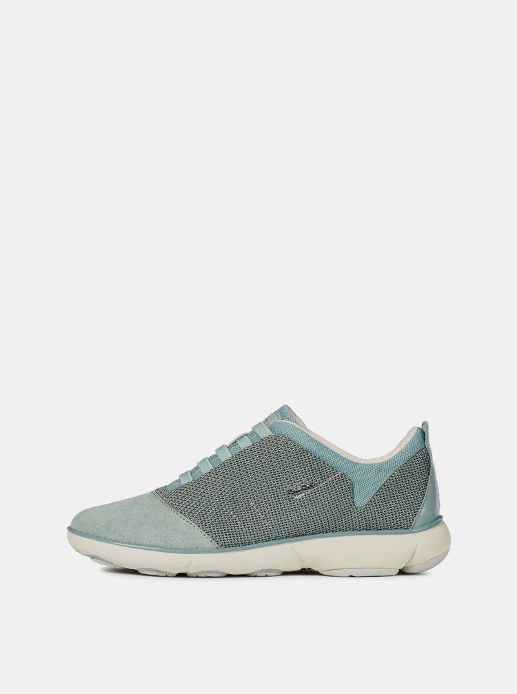 Pantofi sport turcoaz de dama cu detalii din piele intoarsa Geox Nebula