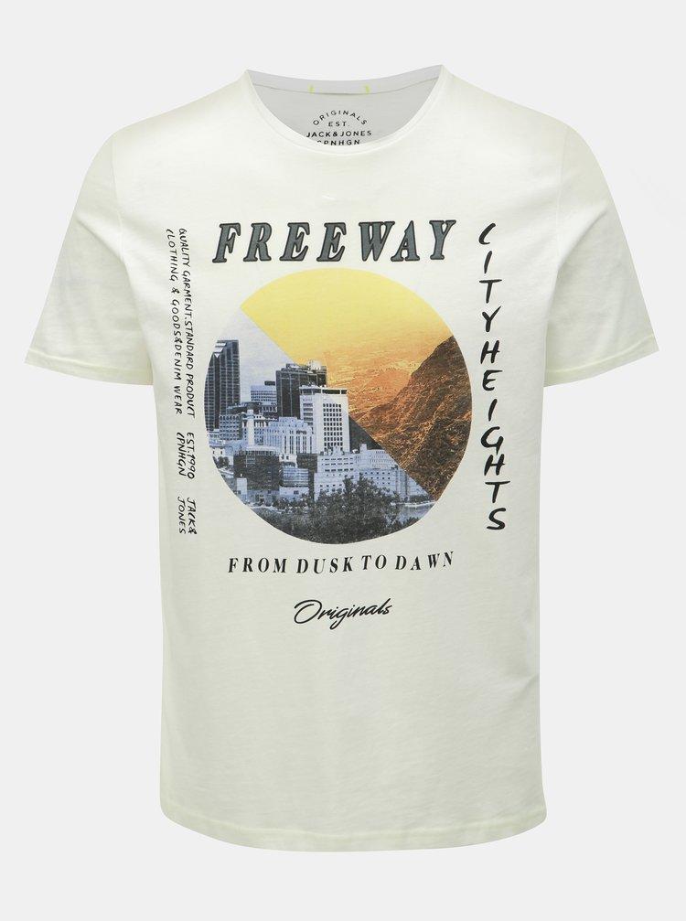 Bílé slim fit tričko s potiskem Jack & Jones Suburban
