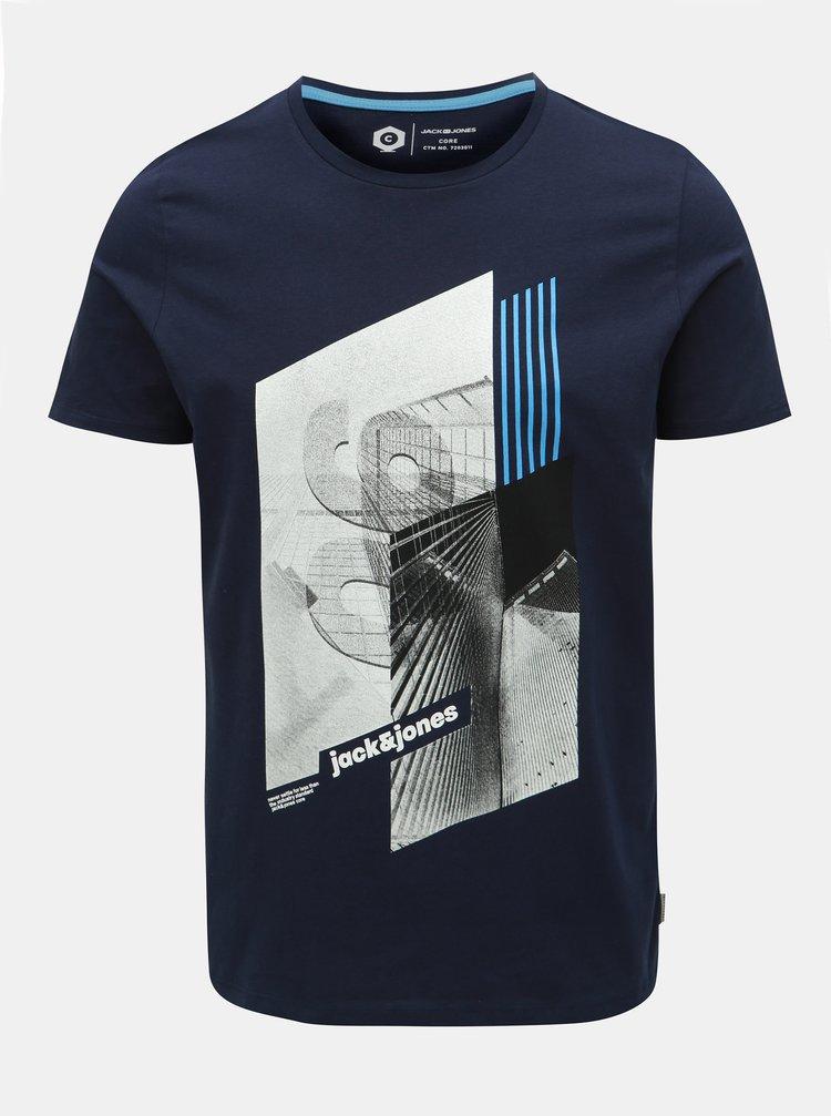Tricou albastru inchis slim fit cu imprimeu Jack & Jones Will
