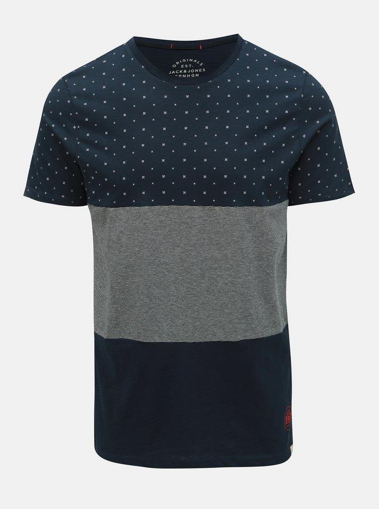 Tmavě modré vzorované slim fit tričko Jack & Jones Tobi