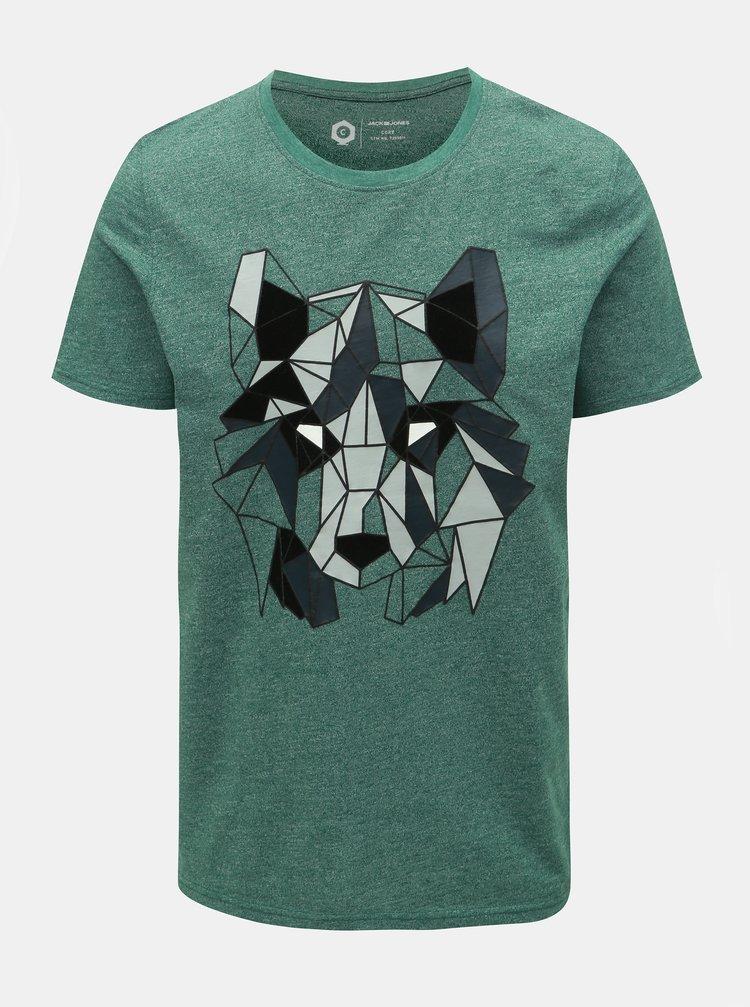 Zelené melírované slim fit tričko Jack & Jones Raimi