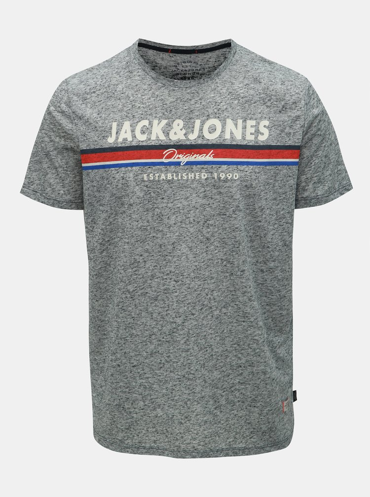 Tricou gri melanj regular fit cu amestec de in Jack & Jones Tuco