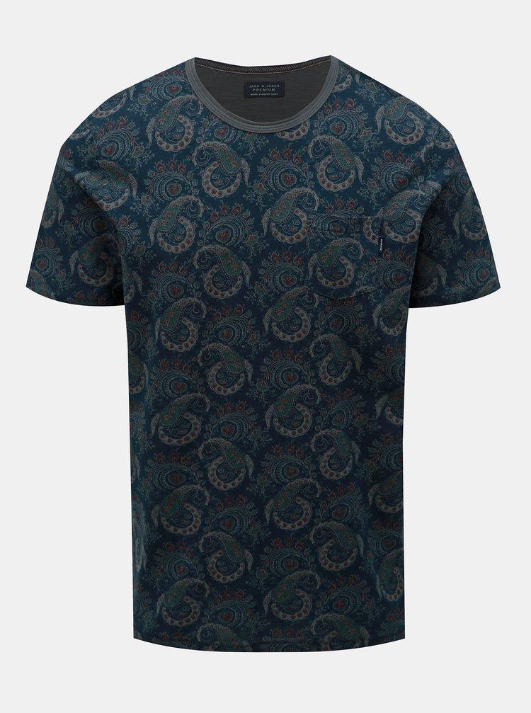 Tricou albastru inchis slim fit cu model si buzunar Jack & Jones Sean