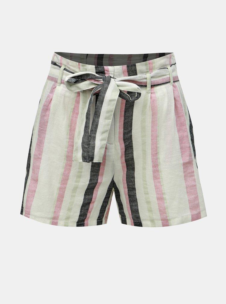 Pantaloni scurti gri-alb in dungi cu amestec de in VERO MODA Tavi