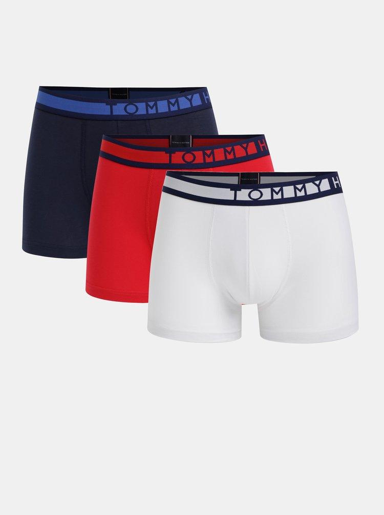 Sada tří boxerek v bílé, červené a modré barvě Tommy Hilfiger Trunk