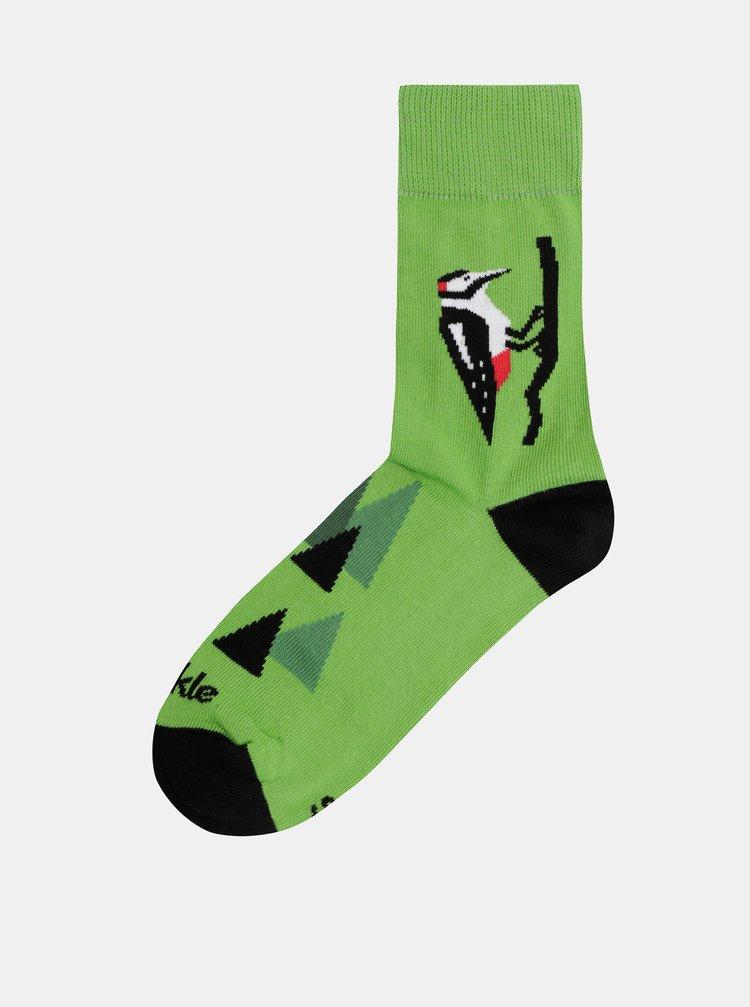 Zelené vzorované ponožky Fusakle Datel