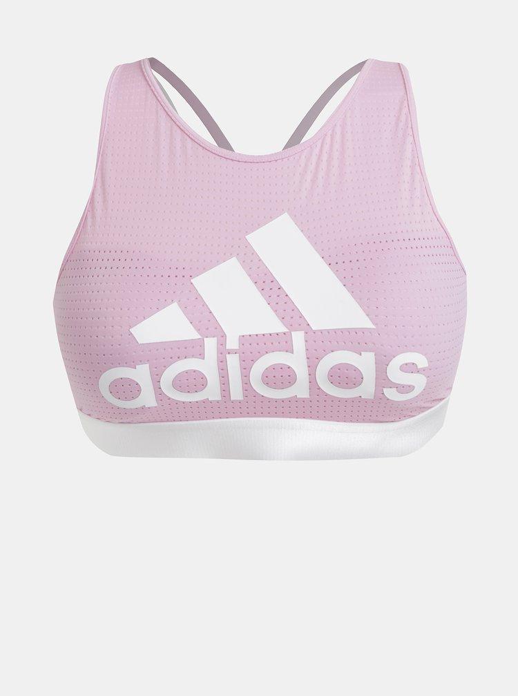 Bustiera sport roz cu imprimeu adidas Performance Halter