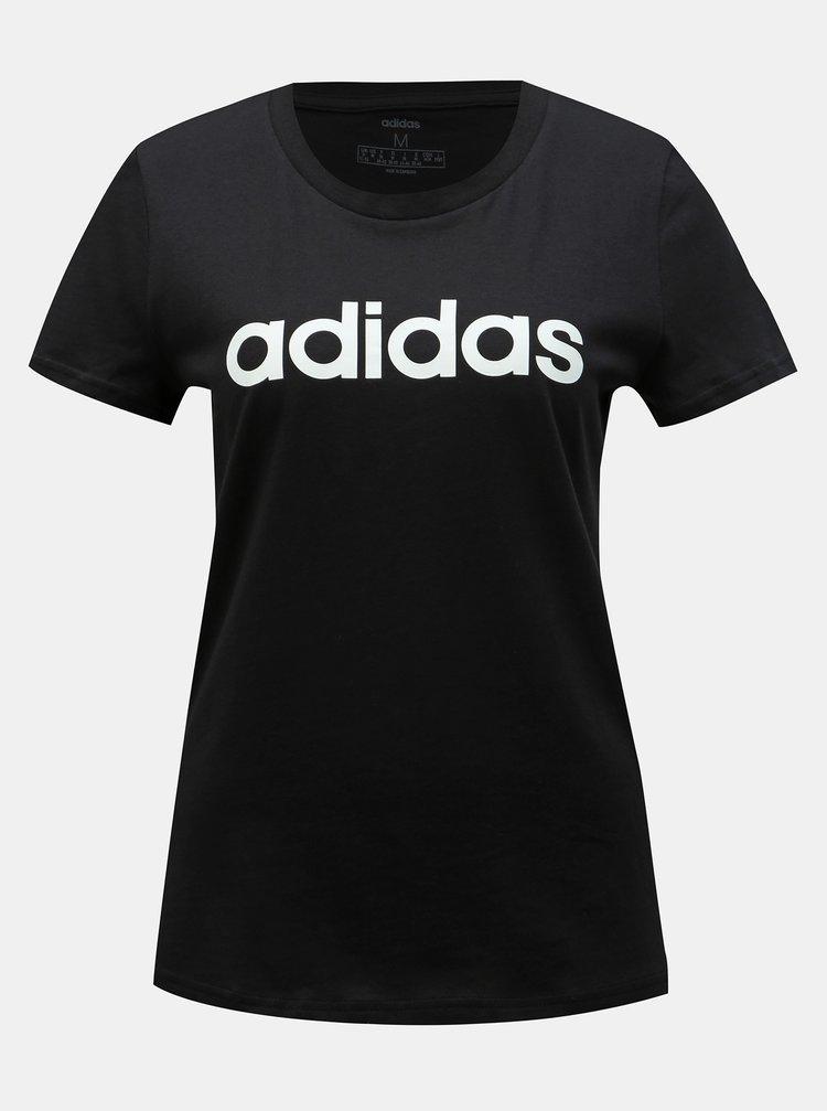 Tricou negru slim fit de dama cu imprimeu adidas CORE