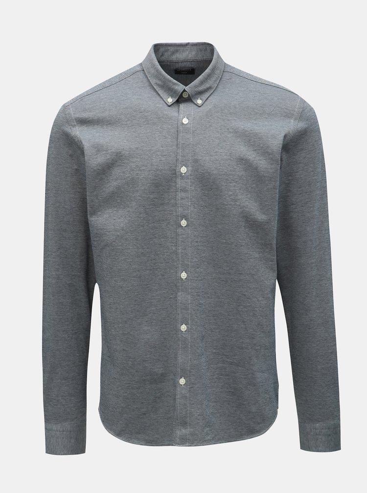 Sivá melírovaná formálna slim fit košeľa Selected Homme