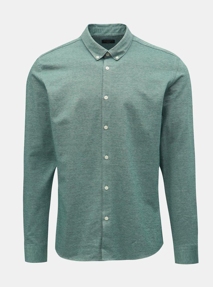 Zelená žíhaná formální slim fit košile Selected Homme