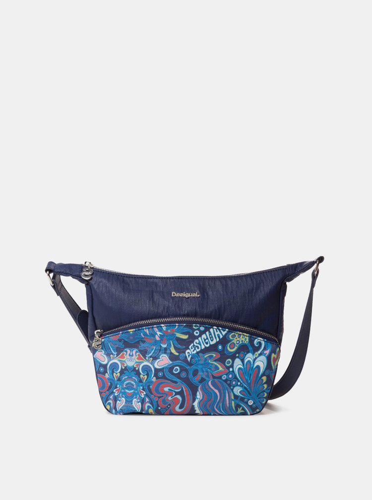 Tmavě modrá vzorovaná crossbody kabelka Desigual Psicodelia