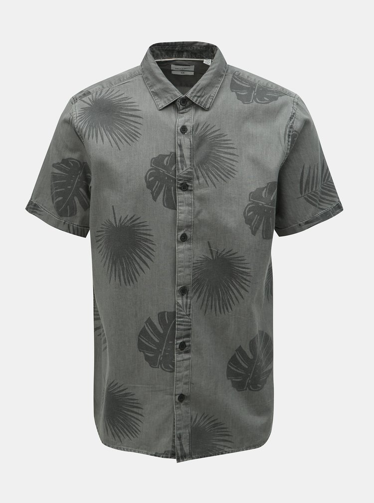 Sivá vzorovaná slim fit košeľa ONLY & SONS Simon