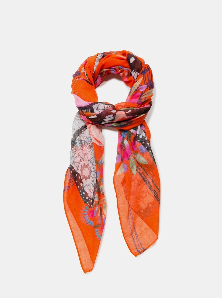 Oranžový vzorovaný šátek  Desigual Mensaje