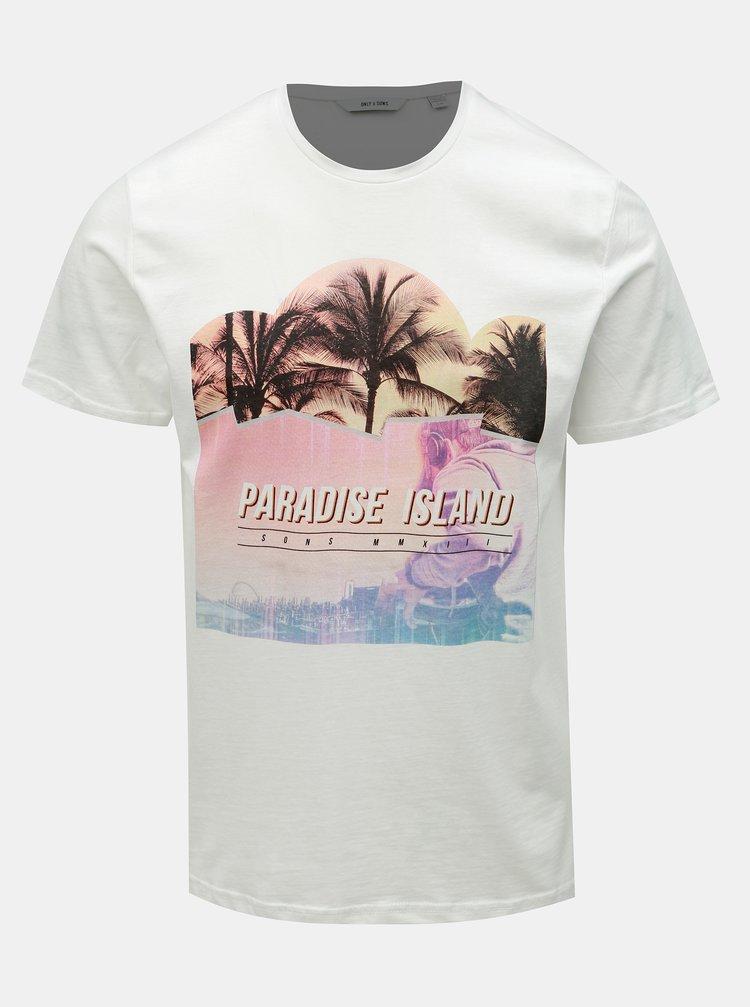 Bílé tričko s potiskem ONLY & SONS Pacifica
