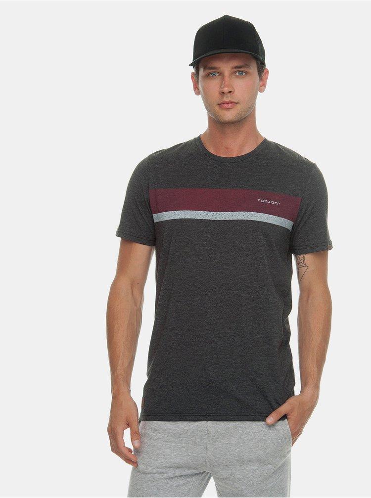 Tricou barbatesc gri inchis cu imprimeu Ragwear Hake Organic