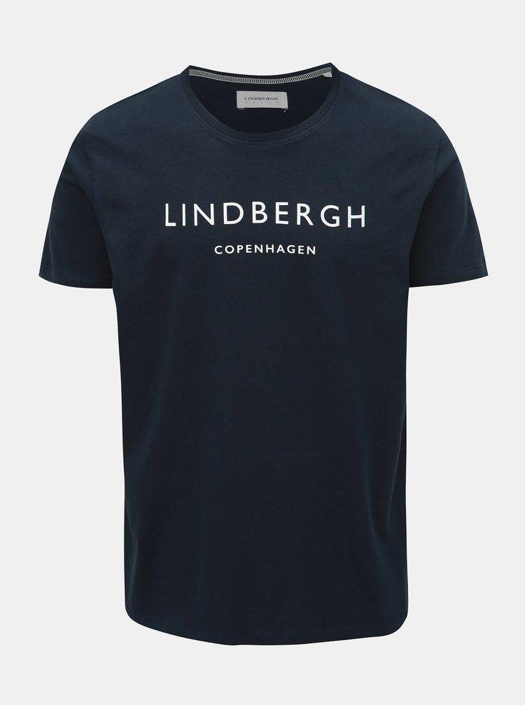 Tricou albastru inchis cu imprimeu Lindbergh