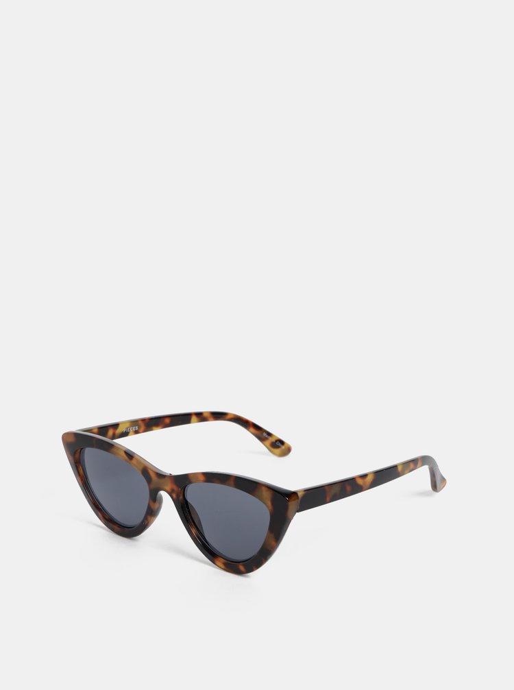 Hnědé vzorované sluneční brýle Pieces Betty