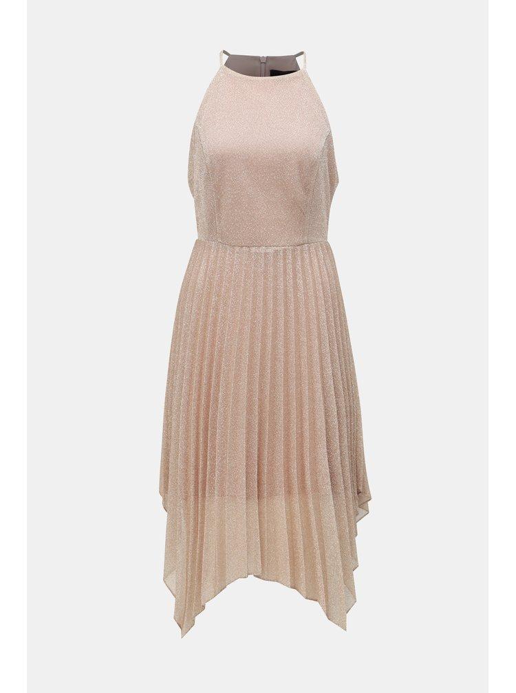 Starorůžové plisované šaty na ramínka Dorothy Perkins