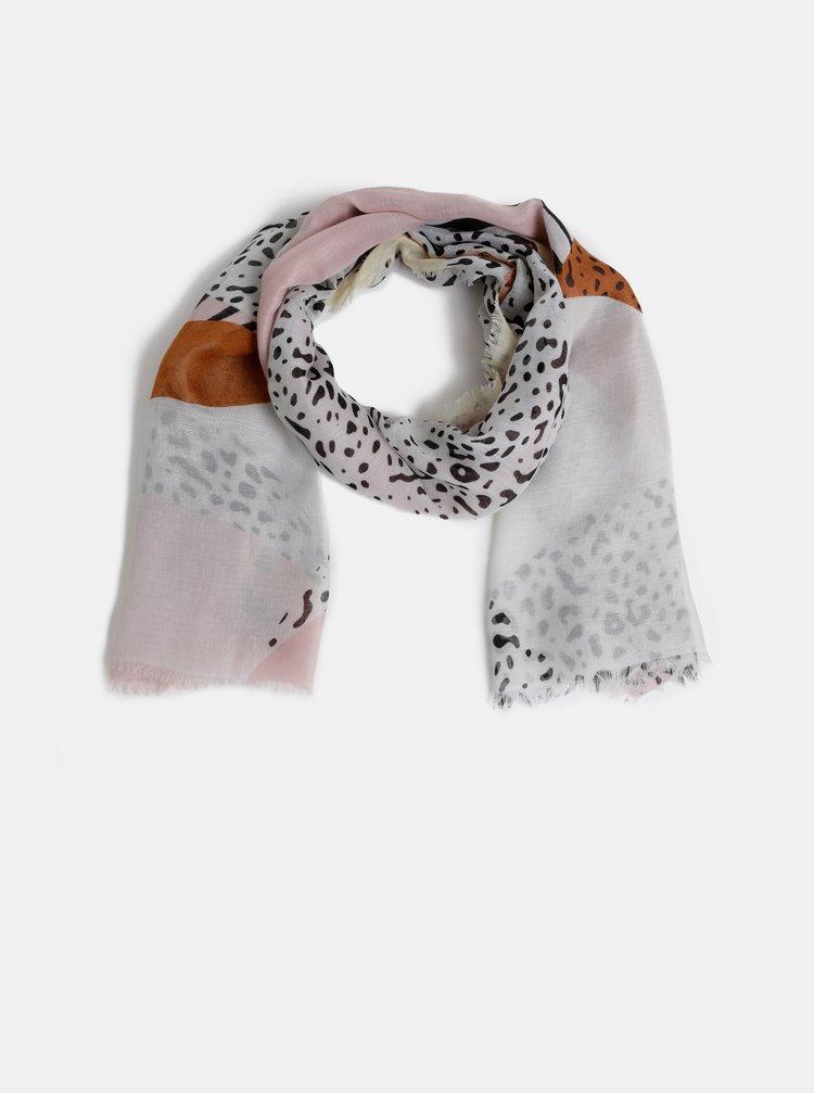 Esarfa roz-alb cu model Pieces Erle