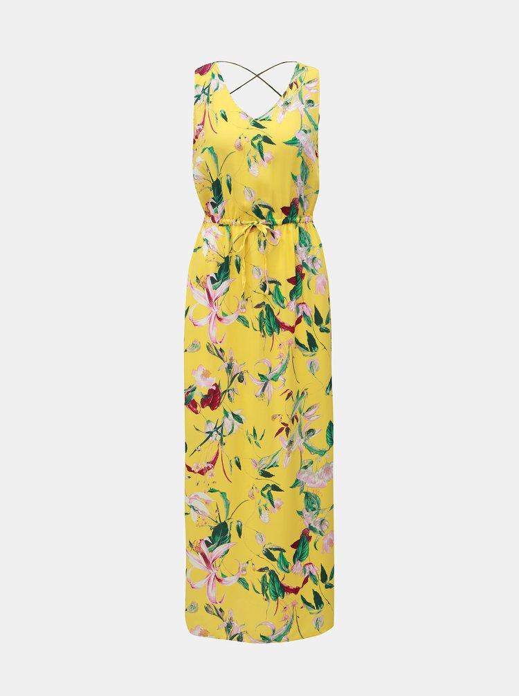 Žluté květované maxišaty VERO MODA Simply Easy