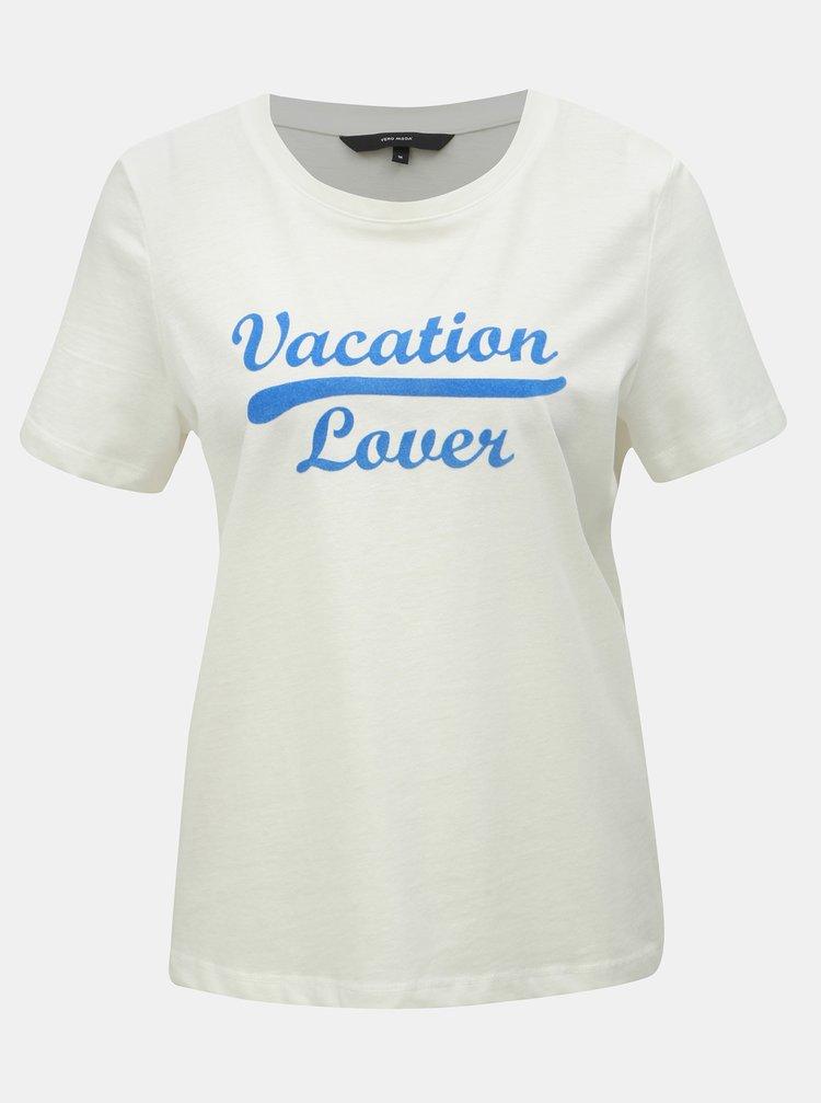 Tricou alb cu imprimeu VERO MODA Team
